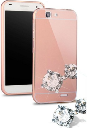 Teleplus Huawei G7 Aynalı Metal Kapak Kılıf Rose Gold