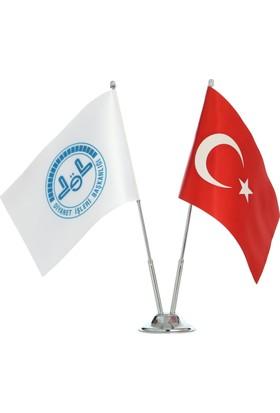 Ekin Bayrakçılık Diyanet İşl. Bşk. ve Türk Bayrağı İkili Masa Bayrak Takımı