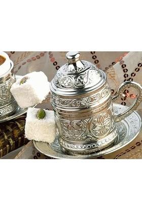 Toptancı Kapında Osmanlı Motifli Kahve Fincanı - Gümüş