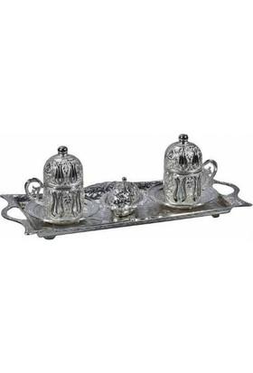 Toptancı Kapında Osmanlı Motifli 2'Li Türk Kahvesi Seti - Gümüş