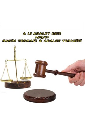 Mnk Ahşap Hakim Tokmağı Ve Mini Adalet Terazisi Seti Gold