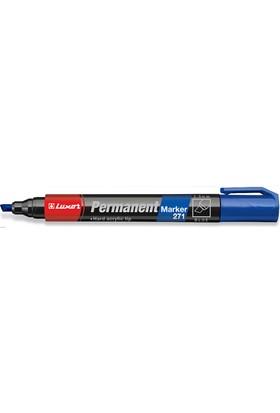 Luxor 271 Permanent Marker 5 Mm Kesik Uç Mavi Renk 10Lu Kutu