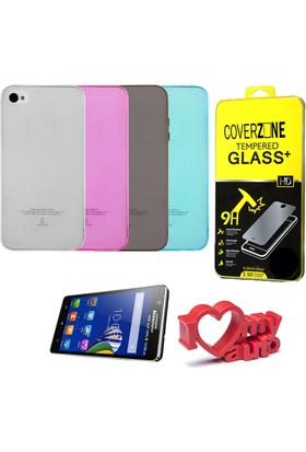 CoverZone HTC 10 Kılıf 0,3mm Silikon + Temperli Cam + Araç Kokusu