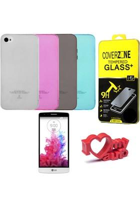 CoverZone LG G3 Mini Kılıf 0,3mm Silikon + Temperli Cam + Araç Kokusu