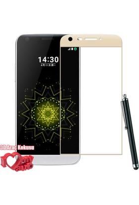 CoverZone LG G5 Color Full Ekran Koruyucu Cam + Dokunmatik Kalem + 3d Araç Kokusu