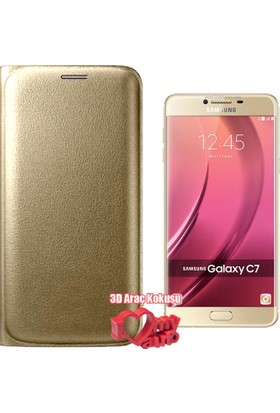 CoverZone Samsung Galaxy C5 Kılıf Flip Cover + 3d Araç Kokusu