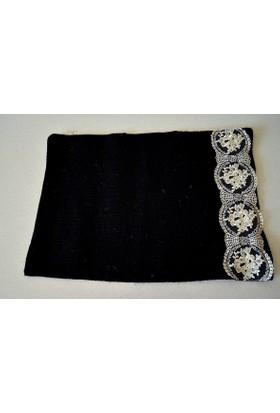 Şahika Tasarım - Siyah Renk Jüt Kumaş Amerikan Servis