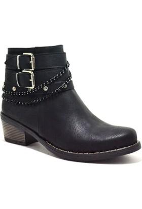 Baldano® Fermuarlı Zincirli Topuklu Siyah Kadın Bot