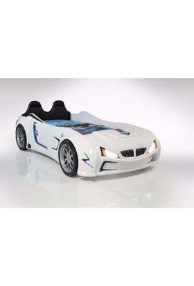 Setay Bmw Racing Beyaz Koltuklu Arabalı Yatak