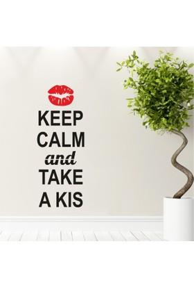 Keep Calm and Take a Kiss Duvar Sticker