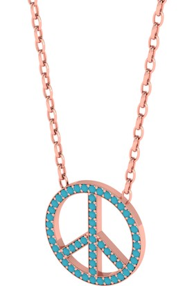 Diamood Jewelry Gümüş Firuze Taşlı Barış Kolye
