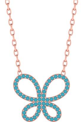 Diamood Jewelry Gümüş Firuze Taşlı Kelebek Kolye