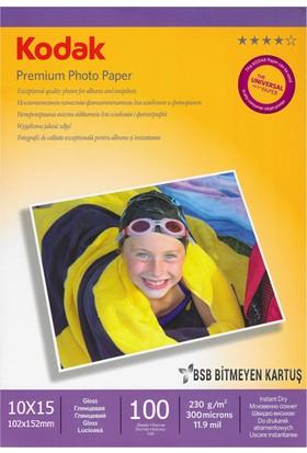 Kodak Premium Glossy,Parlak 10x15 230Gr/m² Fotoğraf Kağıdı 100 Yaprak