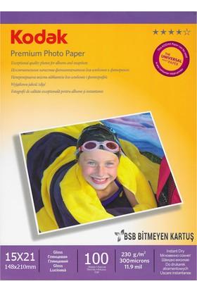 Kodak Premium Glossy,Parlak 15x21 230Gr/m² Fotoğraf Kağıdı 100 Yaprak