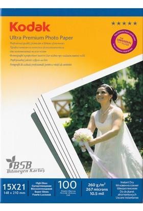 Kodak Ultra Premium Glossy,Parlak 15x21 260Gr/m² Fotoğraf Kağıdı 100 Yaprak