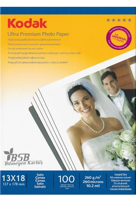 Kodak Ultra Premium Satin,Mat 13x18 260Gr/m² Fotoğraf Kağıdı 100 Yaprak