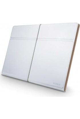 Sony Sgp-Cv3/W Xperia Tablet S İçin Deri Kılıf Stand Beyaz