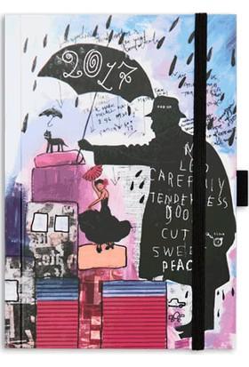 Le Color Motley Kuşe Kapaklı Şemsiye Desenli Ajanda 2017