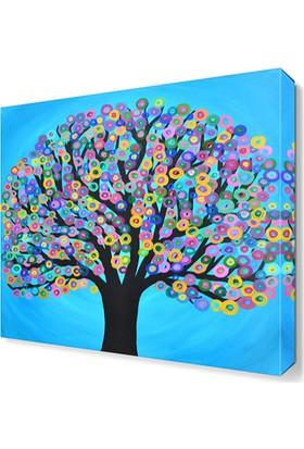 Dekor Sevgisi Renkli Ağaç Tablosu 50x50 cm