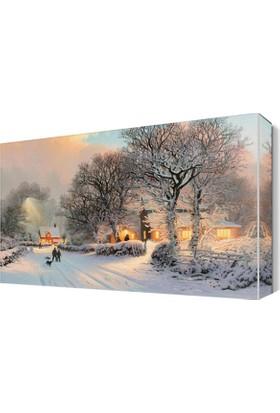 Dekor Sevgisi Sevimli Kış Manzarası Canvas Tablo 45x30 cm