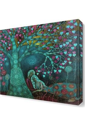 Dekor Sevgisi Mavi Aşk Ağacı Tablosu 40x40 cm