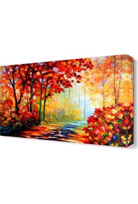 Dekor Sevgisi Turuncu Yapraklı Sonbahar Ağaçları Tablosu 45x30 cm