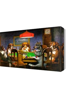 Dekor Sevgisi Kumar Oynayan Köpekler Canvas Tablo 45x30 cm