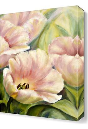 Dekor Sevgisi Beyaz Çiçek Yağlı Boya Tablosu 45x30 cm