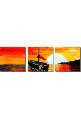 Dekor Sevgisi Gün Batımı Kayık Tablosu 40x128 cm