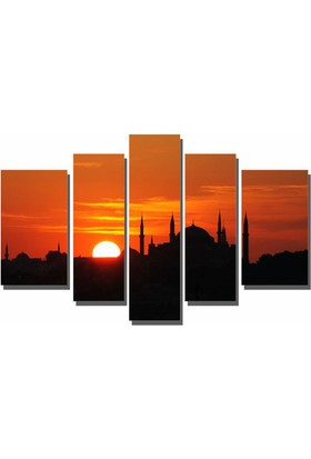 Dekor Sevgisi Siyah Camii ve Batan Güneş Tablosu 110x208 cm