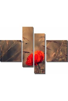 Dekor Sevgisi 4 Parçalı Gelincik Tablo 90x127 cm