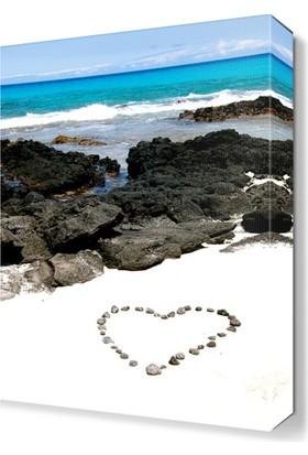 Dekor Sevgisi Deniz ve Taştan Kalpler Tablosu 45x30 cm