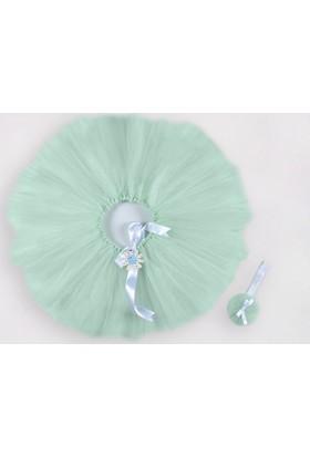 McBaby Tütü Etek Bağlama+Saç Bandı Su Yeşili-1-2 Yaş
