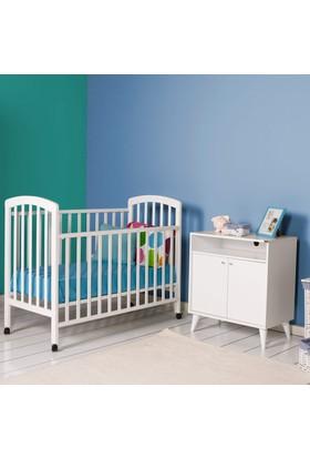 Max Home Kiddy Doğal Ahşap Beşik Beyaz 125X65X100