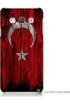 Bordo Samsung Galaxy A7 Türk Bayrağı Baskılı Silikon Kapak Kılıf