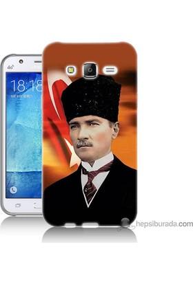 Bordo Samsung Galaxy J2 Atatürk Ve Bayrak Baskılı Silikon Kapak Kılıf