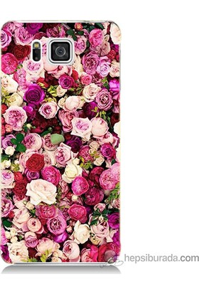 Bordo Samsung Galaxy Alpha G850 Renkli Güller Baskılı Silikon Kapak Kılıf