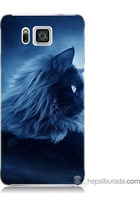 Bordo Samsung Galaxy Alpha G850 3D Kedicik Baskılı Silikon Kapak Kılıf