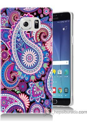 Bordo Samsung Galaxy Note 5 Renkli Çizim Baskılı Silikon Kapak Kılıf
