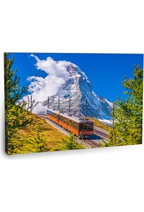 Fotografyabaskı Kırmızı Tren Tablosu İsviçre 75 Cm X 50 Cm Kanvas Tablo Baskı