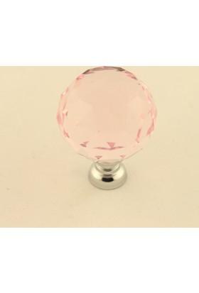 Kristal Taşlı Kulp Küre 30Mm Pembe