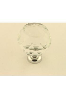 Kristal Taşlı Kulp Küre 30Mm Seffaf
