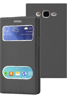 Kılıfshop Samsung Galaxy J1 Ace Pencereli Dolce Kapaklı Kılıf