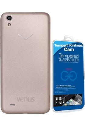 Teleplus Vestel Venüs V3 5010 Silikon Kılıf + Cam Ekran Koruyucu