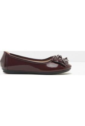 Koton Kids Kız Çocuk Püskül Detaylı Loafer Ayakkabı Bordo