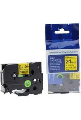 Sarf Muadil Brother P-Touch Tz-Tape 24Mm Sarı-Siyah Etiket 24Tze-651