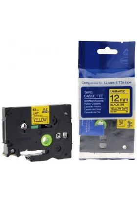 Sarf Muadil Brother P-Touch Tz-Tape 12Mm Sarı-Siyah Etiket 12Tze-631