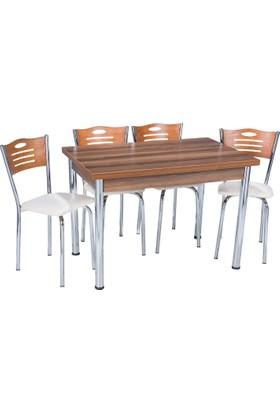 Aras Ceviz Açılır Eko Masa Takımı (4 Sandalye)