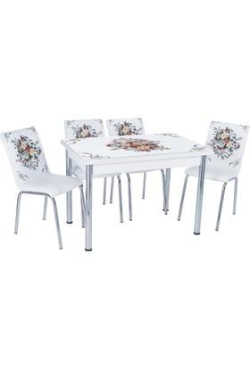 Aras Çiçek Sepeti Açılır Camlı Masa Takımı (4 Sandalye)