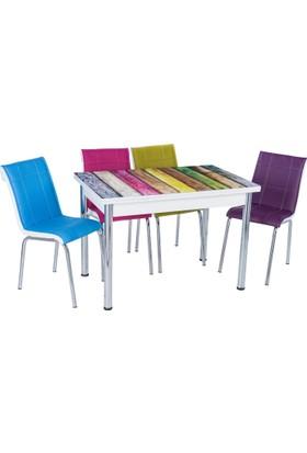 Aras Gökkuşağı Açılır Camlı Masa Takımı (4 Sandalye)